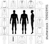 men's large clothing outlined... | Shutterstock .eps vector #705025951
