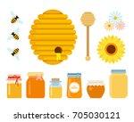 bee hive  wooden honey spoon ... | Shutterstock .eps vector #705030121