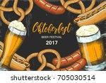 oktoberfest celebration... | Shutterstock . vector #705030514