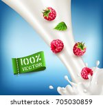 vector ripe  red raspberry... | Shutterstock .eps vector #705030859