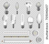 3d lamps types of led bulbs... | Shutterstock .eps vector #705040657