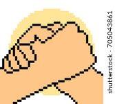 vector pixel art hand sign team ... | Shutterstock .eps vector #705043861