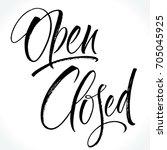 open   closed lettering.... | Shutterstock .eps vector #705045925