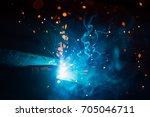 artistic welding sparks light ... | Shutterstock . vector #705046711
