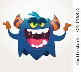angry cartoon black monster.... | Shutterstock .eps vector #705046855