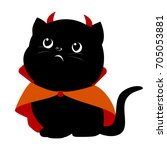 Stock vector black cat in a devil costume vector flat illustration cute black cat 705053881