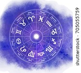 circle with signs of zodiac on...   Shutterstock .eps vector #705055759