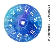 circle with signs of zodiac on...   Shutterstock .eps vector #705058315