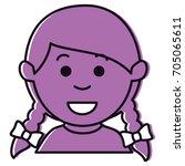 little girl avatar character | Shutterstock .eps vector #705065611
