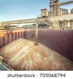 grain elevator. filling the... | Shutterstock . vector #705068794