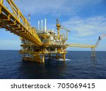 offshore construction platform... | Shutterstock . vector #705069415