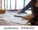 stylish fashion designer work... | Shutterstock . vector #705081415