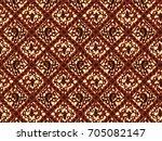 brown classic batik flora | Shutterstock .eps vector #705082147
