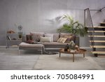 modern stone wall luxury living ... | Shutterstock . vector #705084991