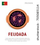 feijoada. national portugal... | Shutterstock .eps vector #705085114