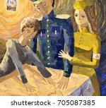 watercolor painting   family