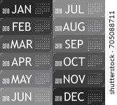 calendar for year 2018 with...   Shutterstock .eps vector #705088711
