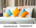 pillow on bed decoration... | Shutterstock . vector #705090379