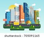 flat vector cartoon... | Shutterstock .eps vector #705091165