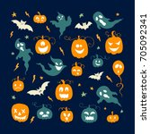 vector set of halloween design... | Shutterstock .eps vector #705092341