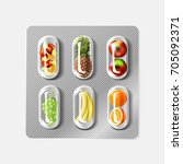 blister pack of pills with... | Shutterstock .eps vector #705092371