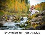 sweet  cute little girl and... | Shutterstock . vector #705095221
