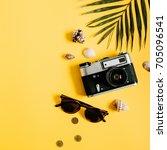 flat lay traveler accessories... | Shutterstock . vector #705096541