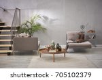 stone wall luxury living room... | Shutterstock . vector #705102379