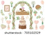 set of wedding elements. rustic ... | Shutterstock .eps vector #705102529