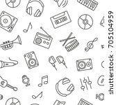 seamless pattern with music... | Shutterstock .eps vector #705104959