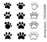different black paw prints set...   Shutterstock . vector #705104989