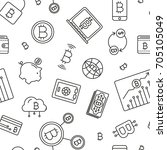 seamless pattern with bitcoin... | Shutterstock .eps vector #705105049