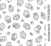 seamless pattern with cupcakes  ... | Shutterstock .eps vector #705105055