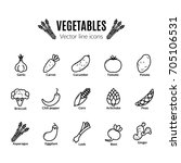 vegetables icon set. vegan... | Shutterstock .eps vector #705106531