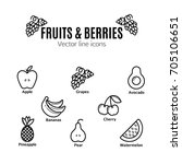 fruit and berries icon set.... | Shutterstock .eps vector #705106651