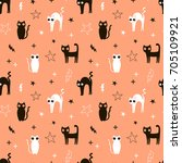 happy halloween pattern | Shutterstock .eps vector #705109921