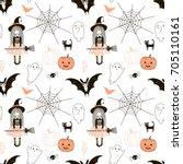 happy halloween pattern   Shutterstock .eps vector #705110161