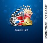 cinema design over blue... | Shutterstock .eps vector #705116539