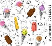 sweet dessert seamless pattern. ... | Shutterstock .eps vector #705120331