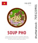 soup pho. national vietnamese... | Shutterstock .eps vector #705123901