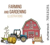 set of farming equipment icons. ... | Shutterstock .eps vector #705131251