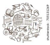set of farming equipment icons. ... | Shutterstock .eps vector #705131269