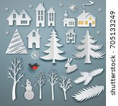 christmas paper art elements... | Shutterstock .eps vector #705133249