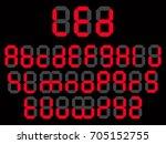 led font digital alphabet... | Shutterstock .eps vector #705152755