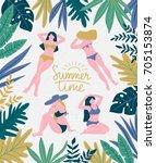 girls sunbathing on the... | Shutterstock .eps vector #705153874