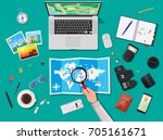 laptop pc and paper map. photo... | Shutterstock .eps vector #705161671