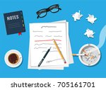 writer or journalist workplace. ... | Shutterstock .eps vector #705161701