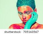 body art woman face portrait ... | Shutterstock . vector #705163567