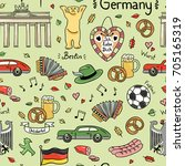 germany symbols vector seamless ... | Shutterstock .eps vector #705165319