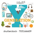 generation y scene with large... | Shutterstock .eps vector #705166609